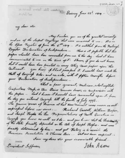 John Adams to Thomas Jefferson, June 22, 1819