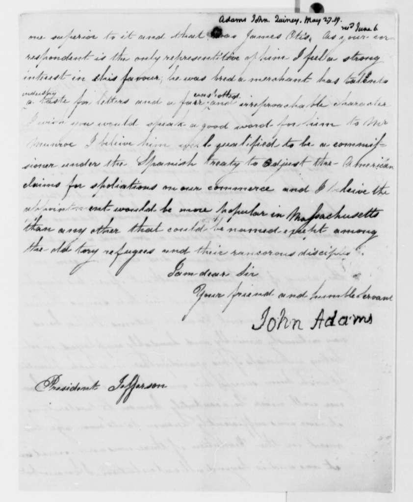 John Adams to Thomas Jefferson, May 27, 1819