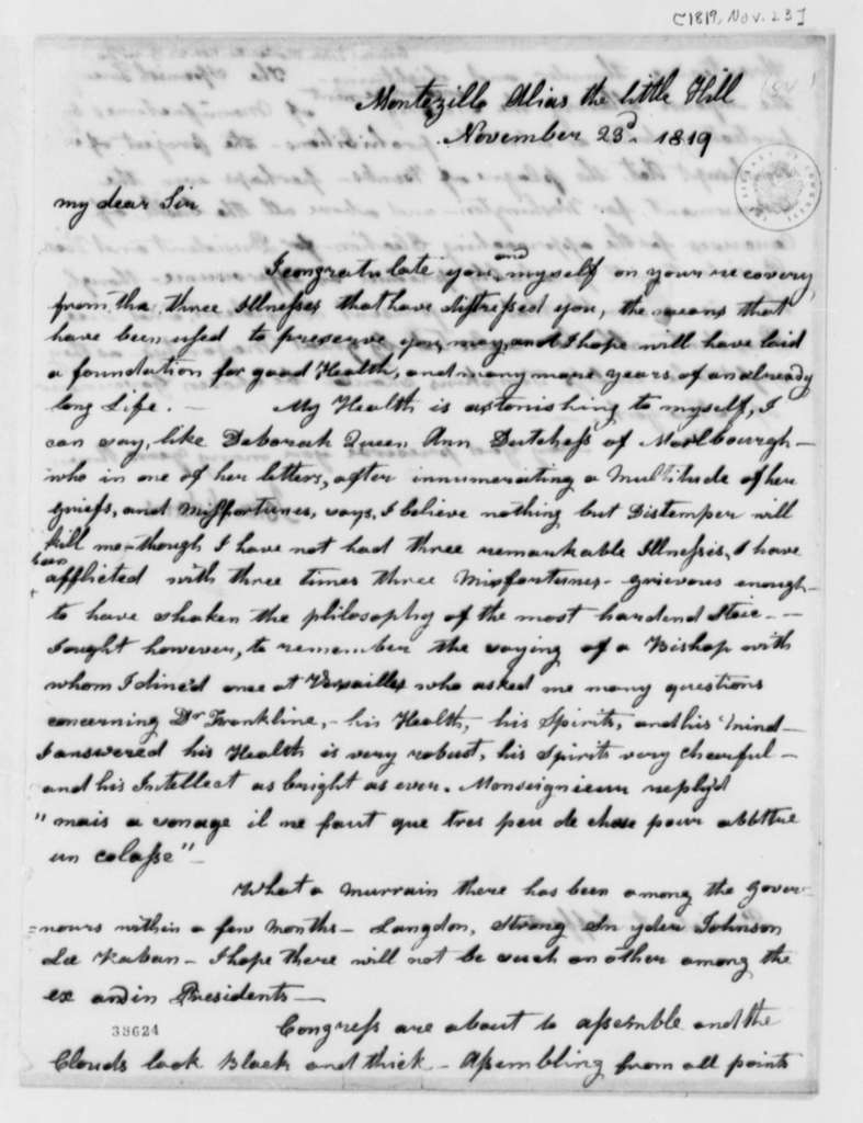 John Adams to Thomas Jefferson, November 23, 1819