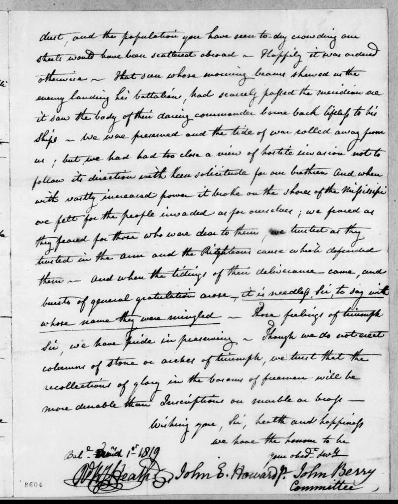 John Berry et al. to Andrew Jackson, March 1, 1819