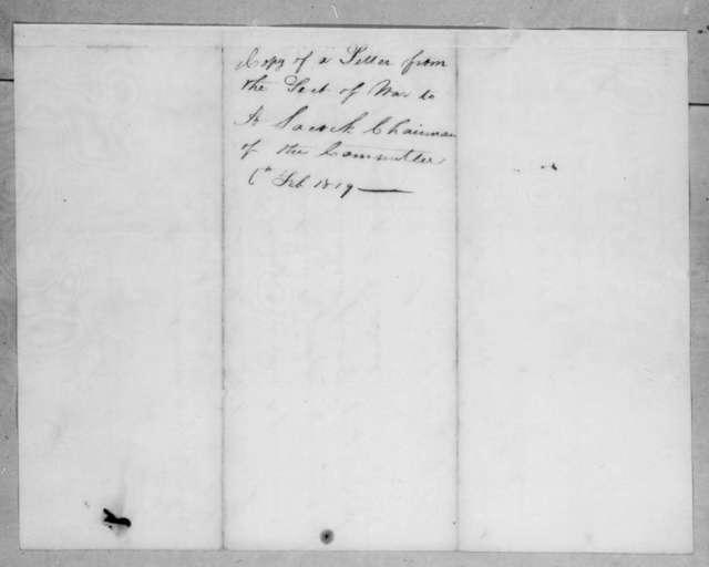 John Caldwell Calhoun to Abner Lacock, February 6, 1819
