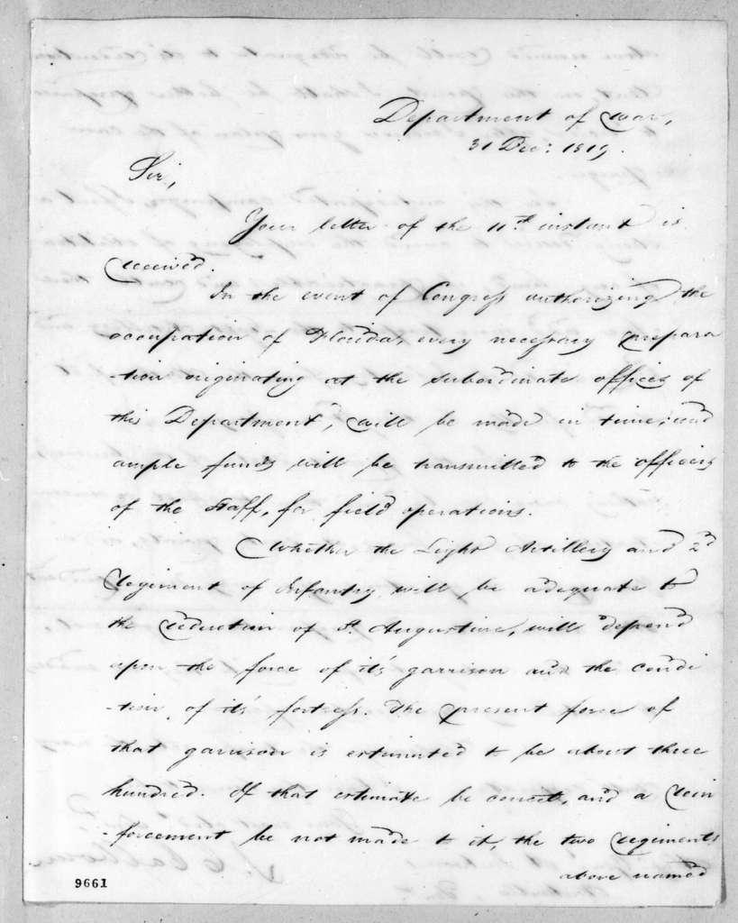 John Caldwell Calhoun to Andrew Jackson, December 31, 1819