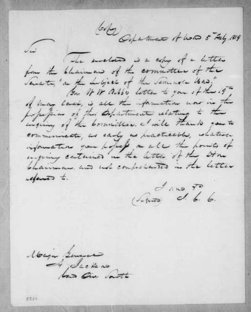 John Caldwell Calhoun to Andrew Jackson, February 5, 1819