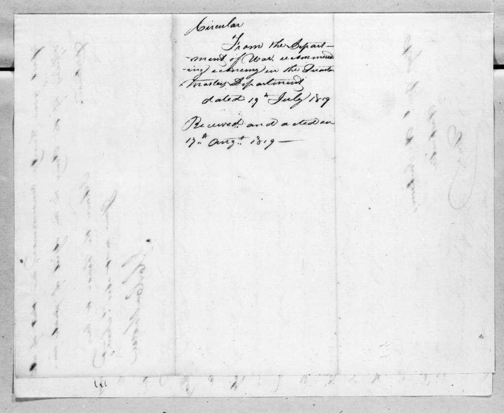 John Caldwell Calhoun to Andrew Jackson, July 19, 1819