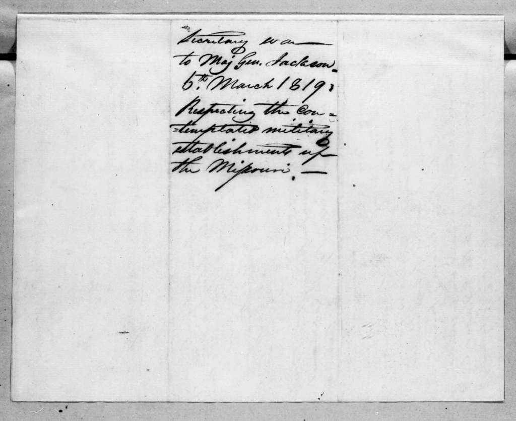 John Caldwell Calhoun to Andrew Jackson, March 6, 1819