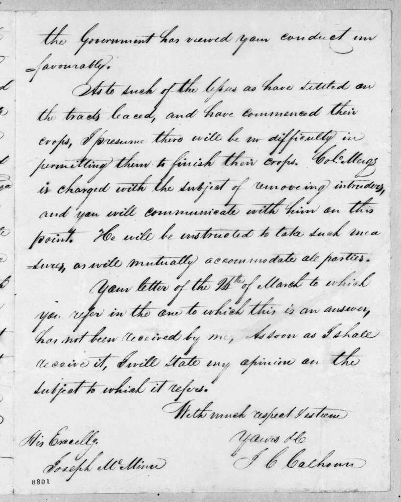 John Caldwell Calhoun to Joseph McMinn, May 6, 1819