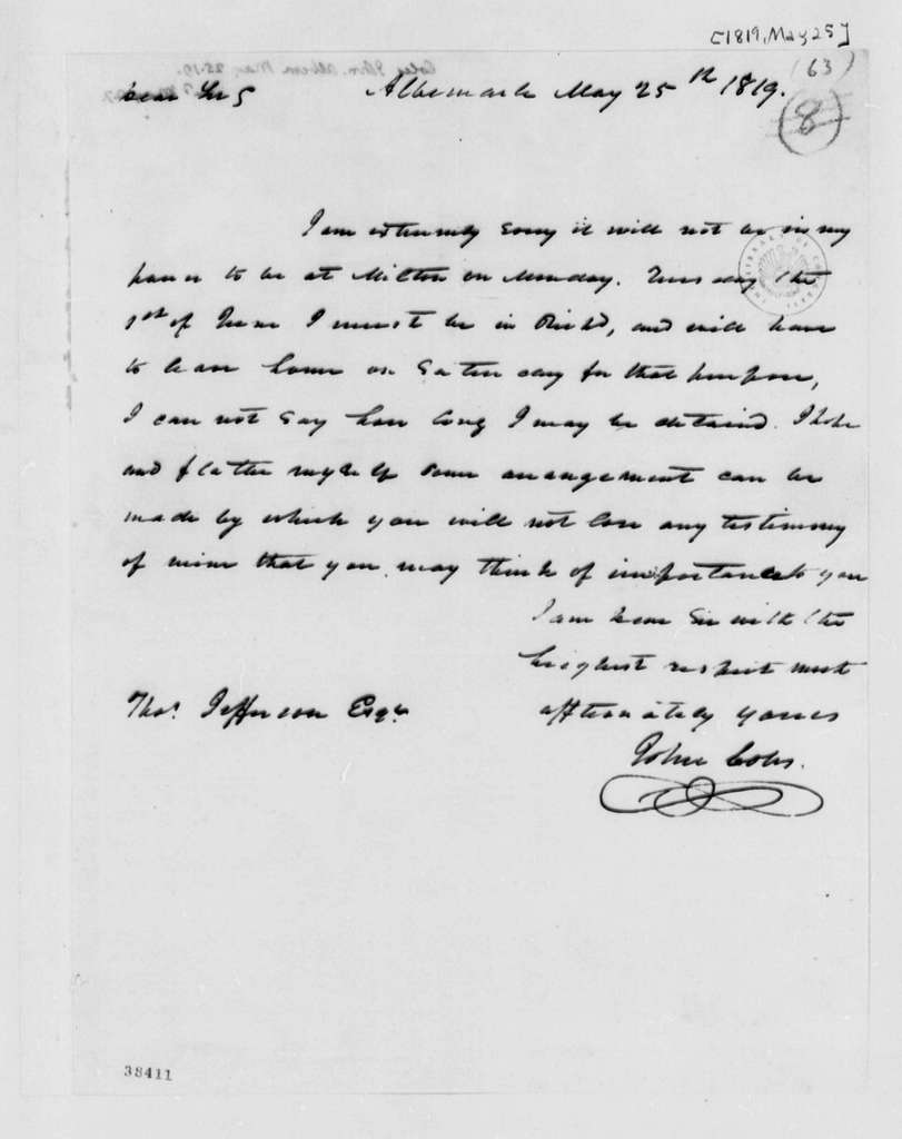 John Coles to Thomas Jefferson, May 25, 1819