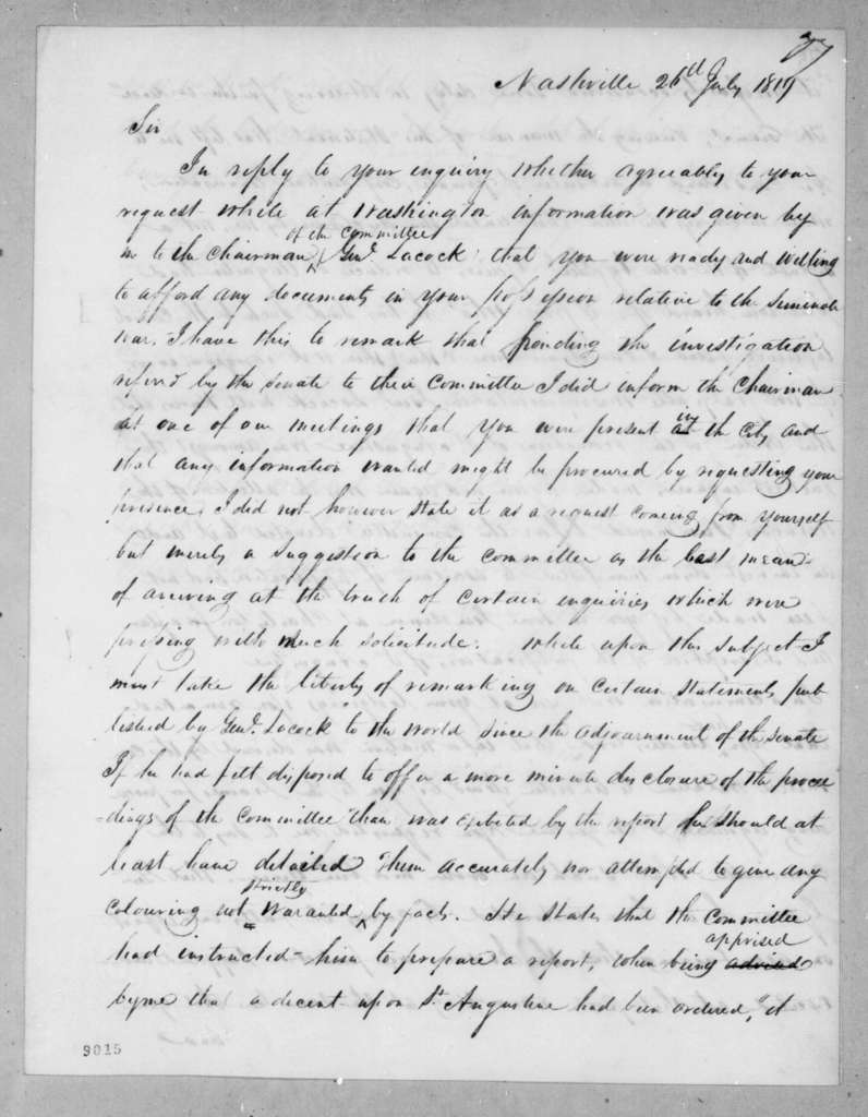 John Henry Eaton to Andrew Jackson, July 26, 1819