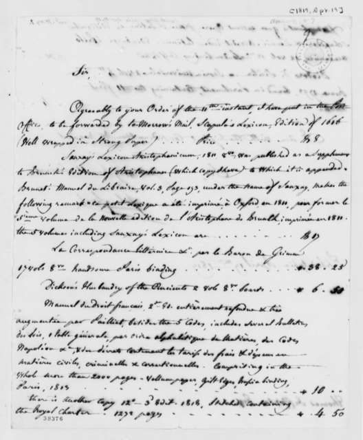 John Laval to Thomas Jefferson, April 19, 1819