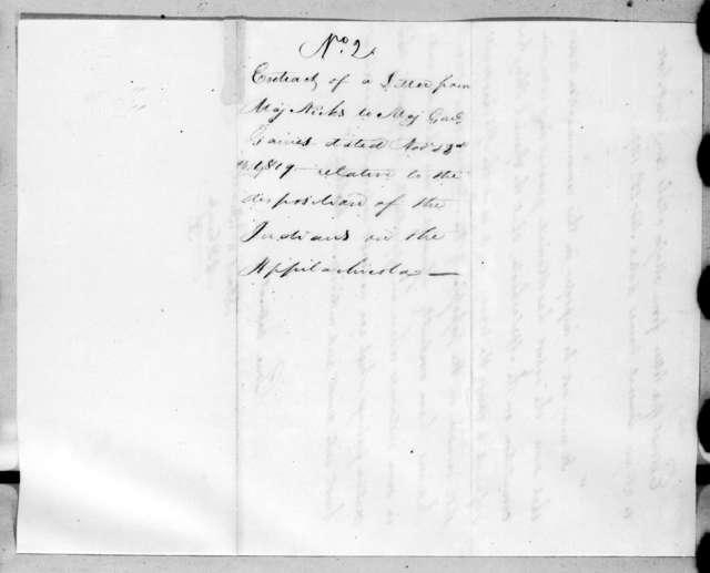John Nicks to Edmund Pendleton Gaines, November 23, 1819