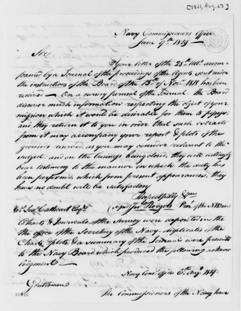 John Rodgers to James Leander Cathcart, June 9, 1819