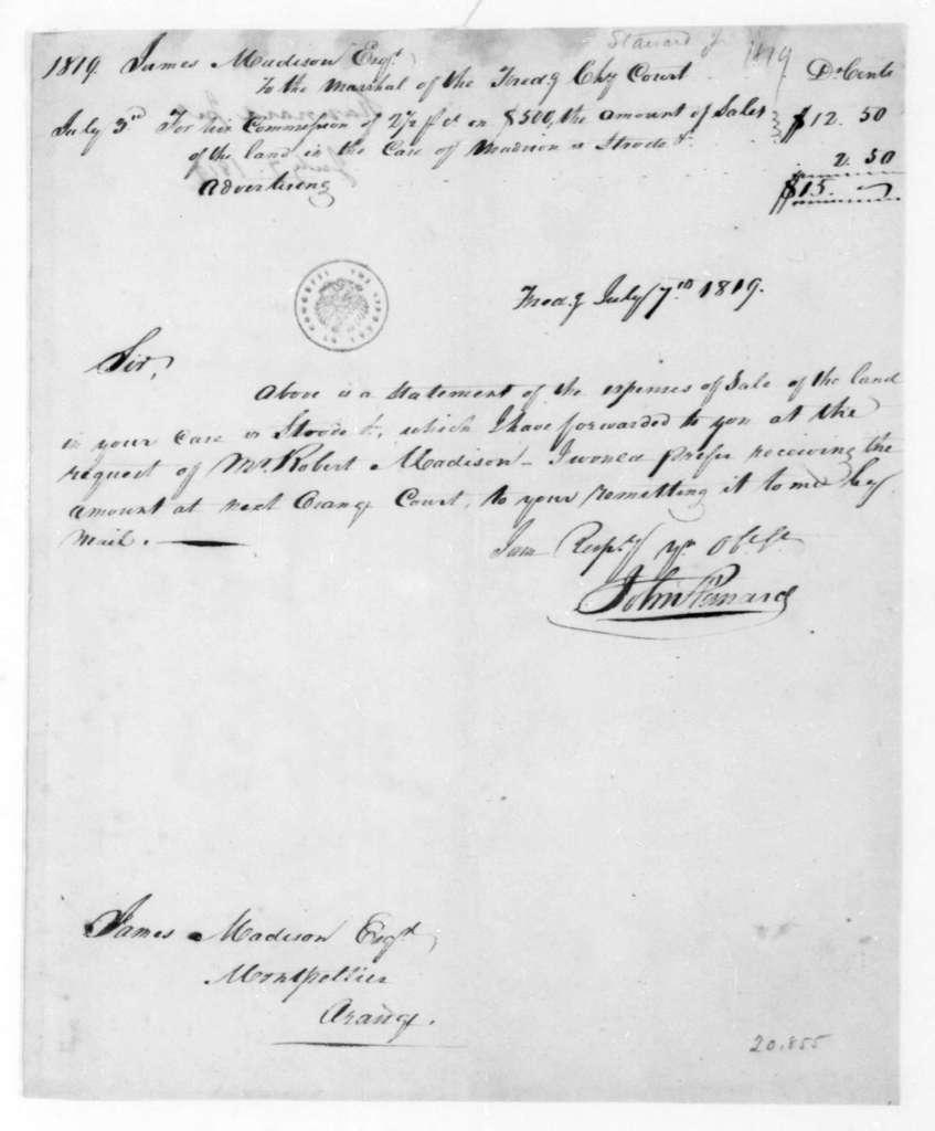 John Stanard to James Madison, July 7, 1819.