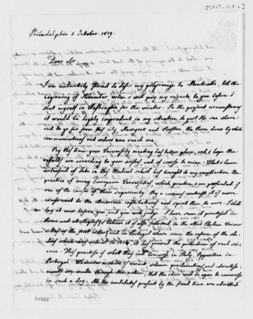 Jose Correa da Serra to Thomas Jefferson, October 2, 1819