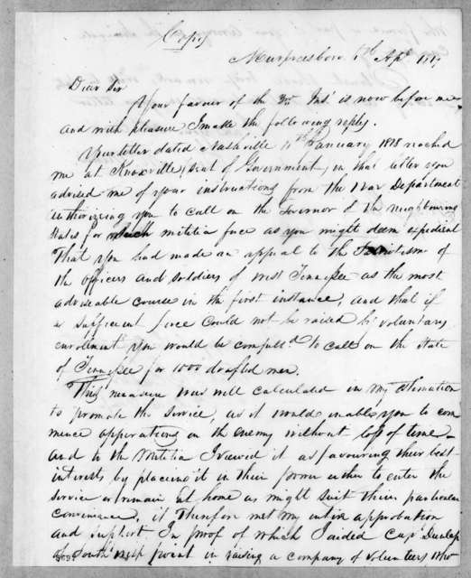 Joseph McMinn to Andrew Jackson, April 6, 1819