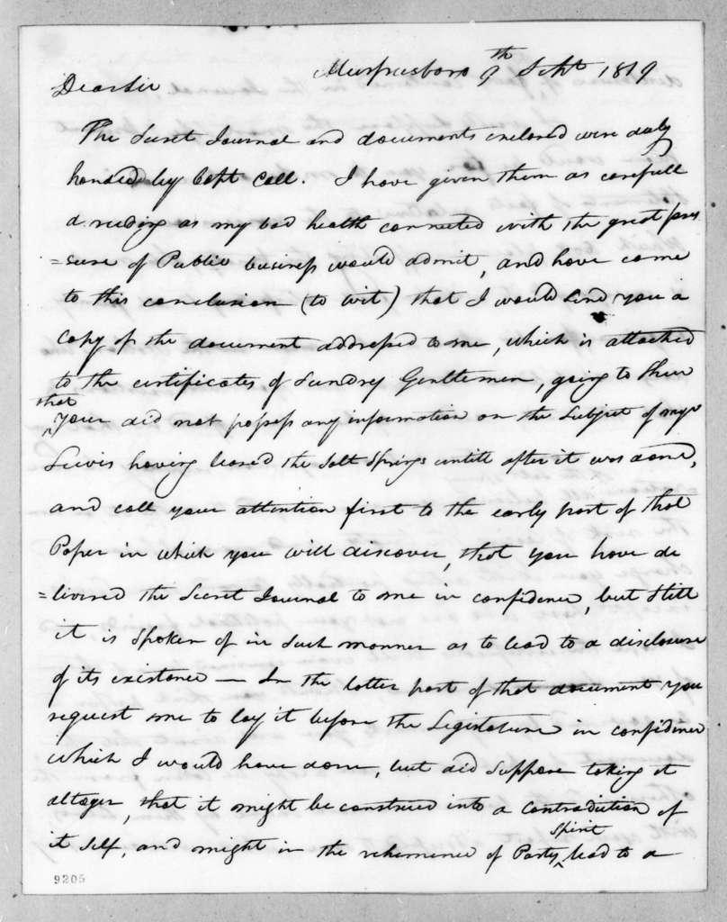 Joseph McMinn to Andrew Jackson, September 9, 1819