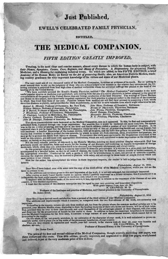 Just published, Ewell's celebrated family physician, entitled, The medical companion. fifth edition greatly improved ... [Washington, 1819].