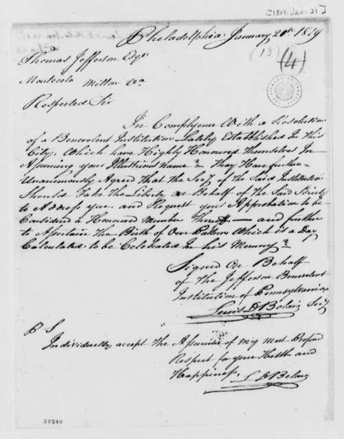 Lewis D. Belair to Thomas Jefferson, January 21, 1819