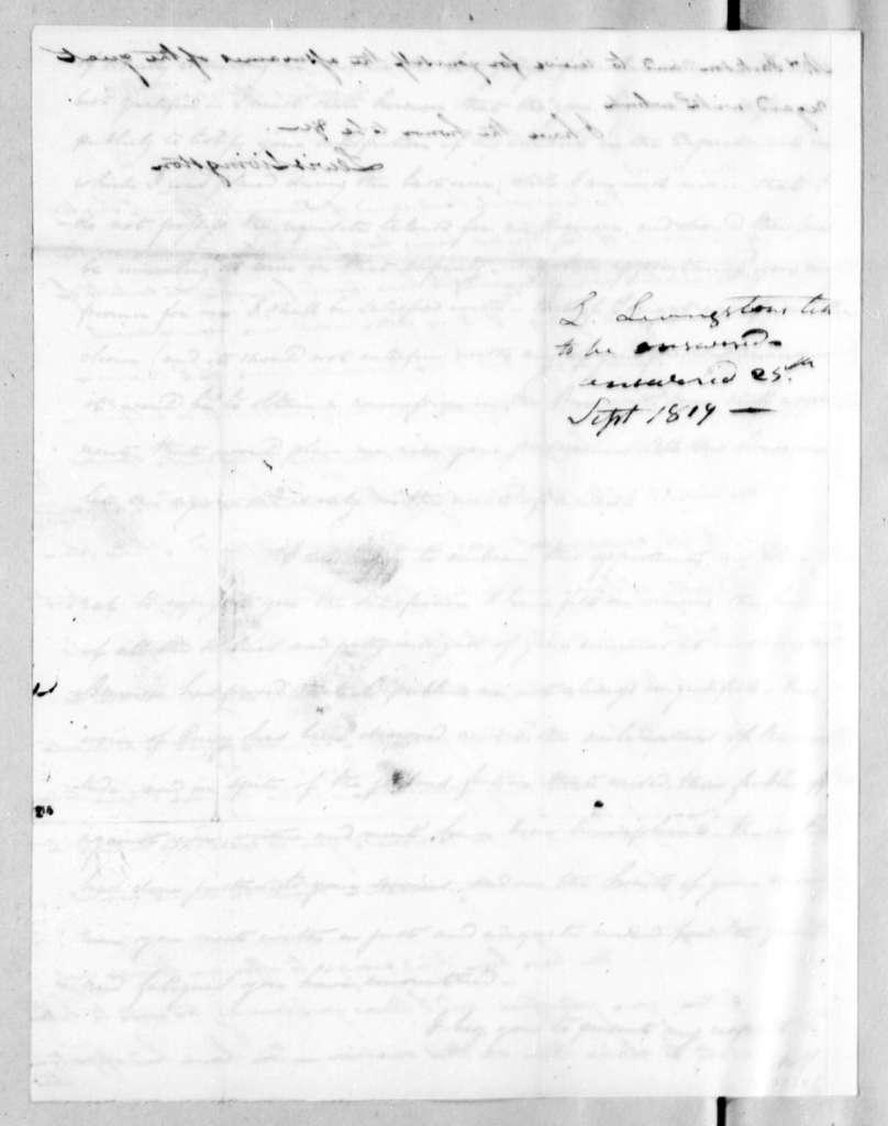 Lewis Livingston to Andrew Jackson, September 7, 1819