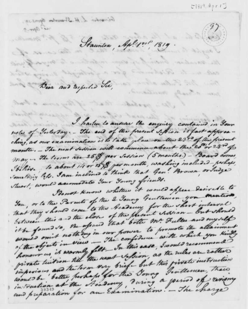 Louis H. Girardin to Thomas Jefferson, April 1, 1819