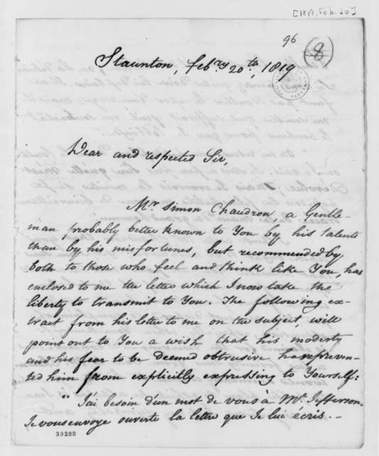 Louis H. Girardin to Thomas Jefferson, February 20, 1819