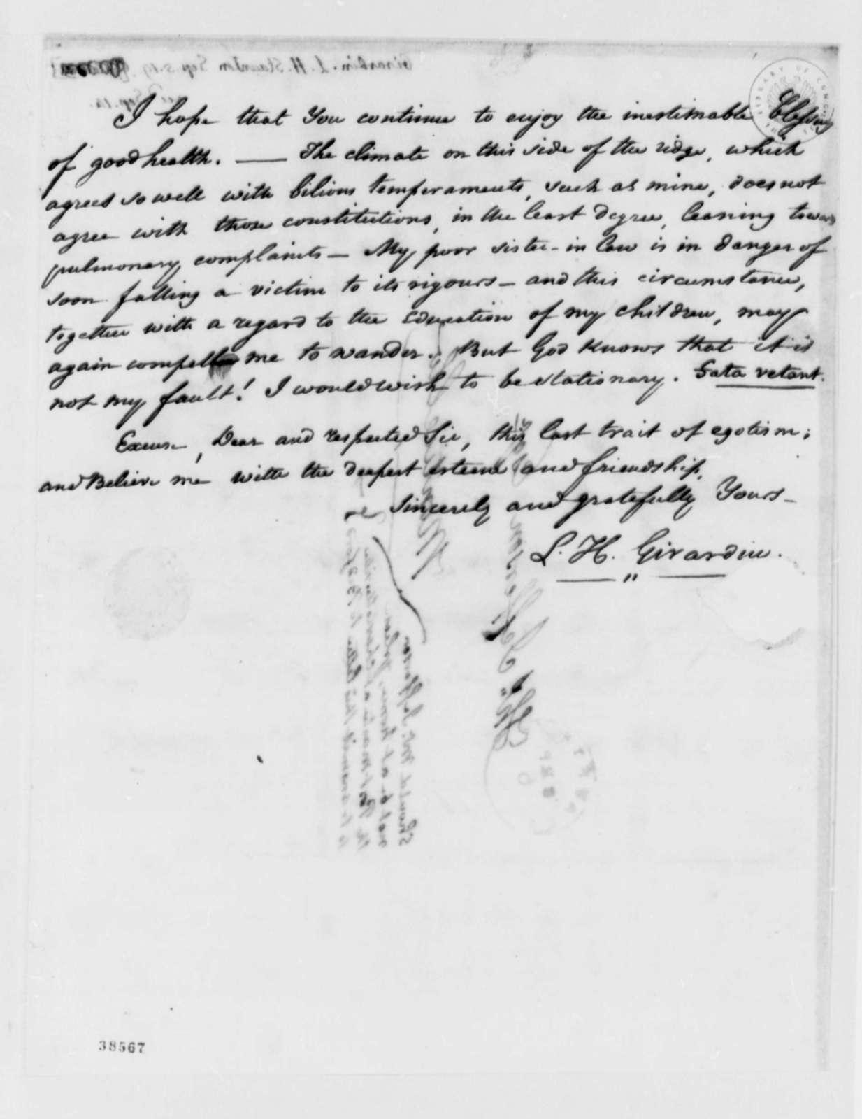 Louis H. Girardin to Thomas Jefferson, September 5, 1819