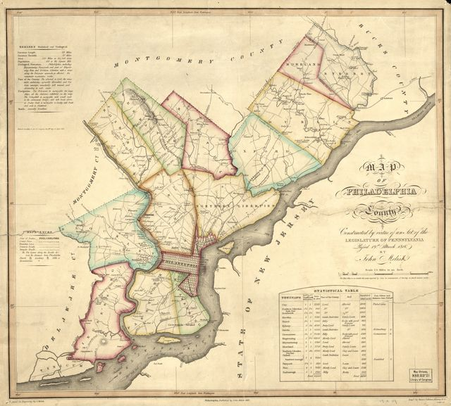 Map of Philadelphia County : constructed by virtue of an act of the Legislature of Pennsylvania passed 19th March 1816 /