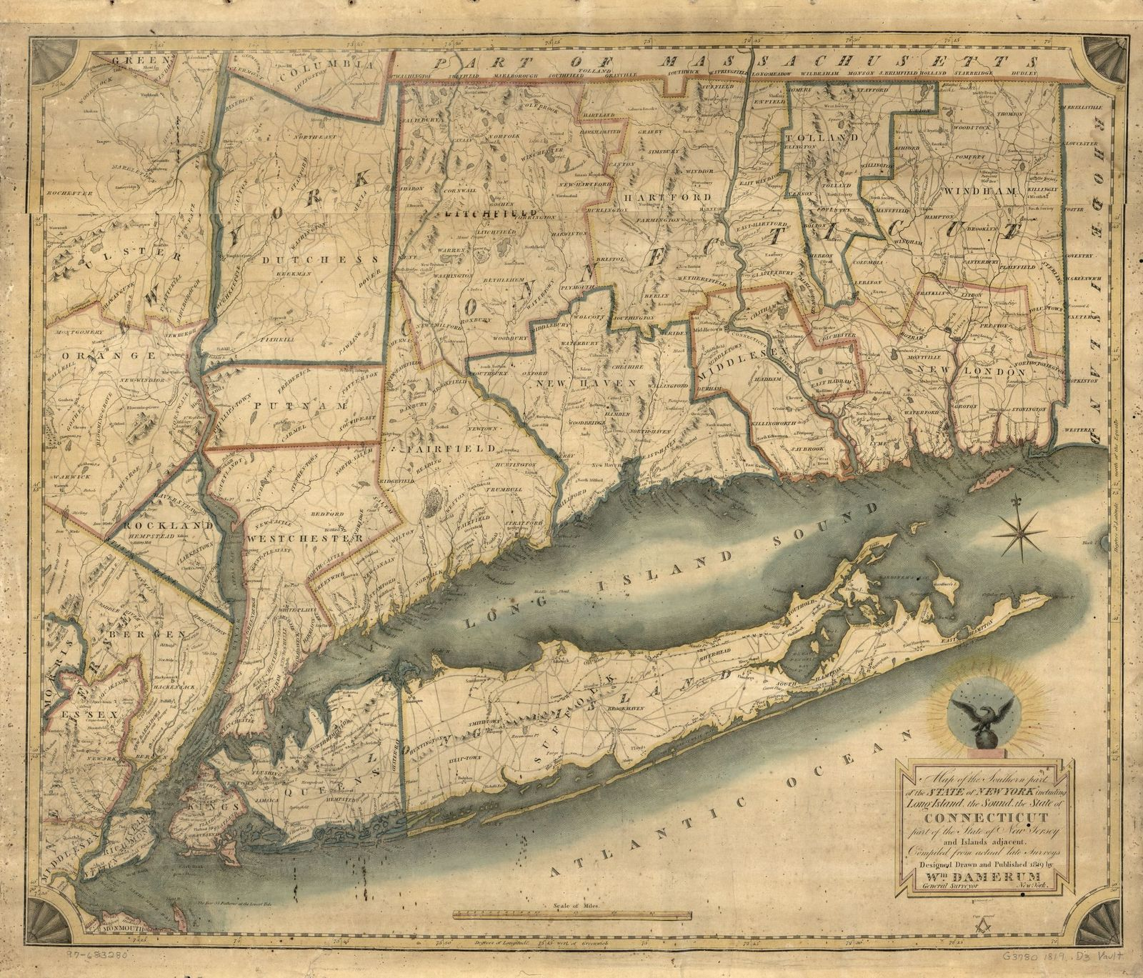 Map Of New York New Jersey And Connecticut.Map Of The Southern Part Of The State Of New York Including Long