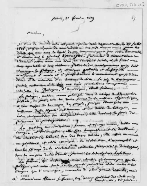 Marc Antoine Jullien to Thomas Jefferson, February 21, 1819, in French