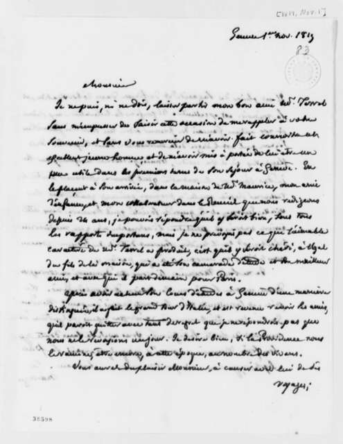 Marc Auguste Pictet to Thomas Jefferson, November 1, 1819, in French
