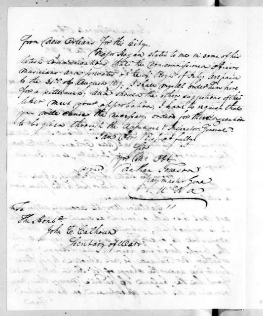 Nathan Towson to John Caldwell Calhoun, December 8, 1819