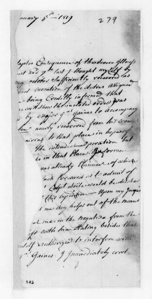 P. H. Perrault to Unknown, January 5, 1819