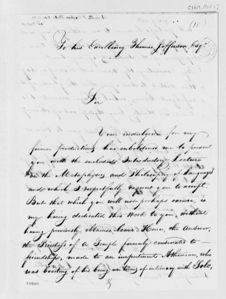 P. Stephen Chazotte to Thomas Jefferson, November 2, 1819