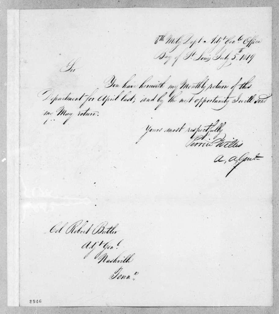 Perrin Willis to Robert Butler, July 5, 1819