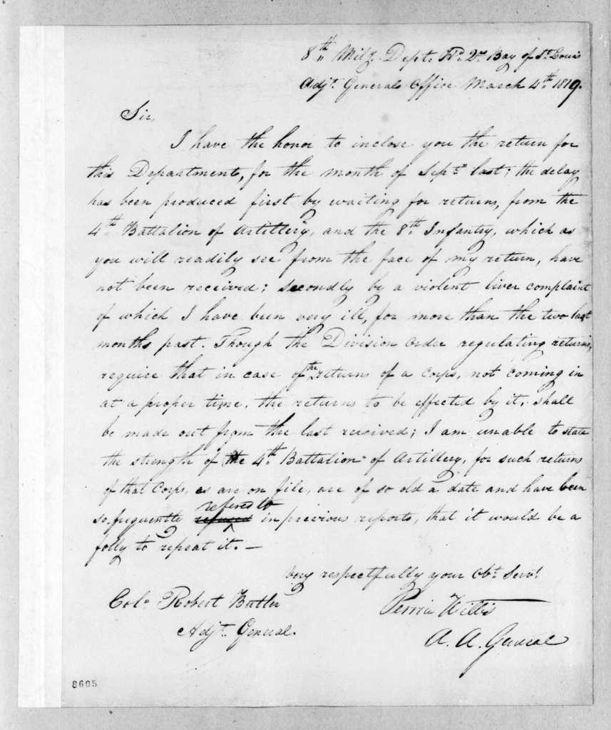 Perrin Willis to Robert Butler, March 4, 1819