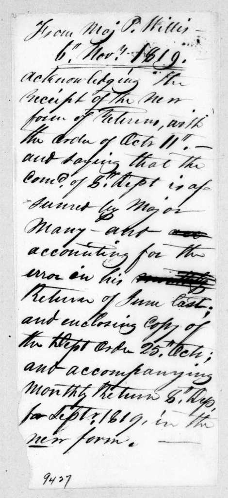Perrin Willis to Robert Butler, November 6, 1819