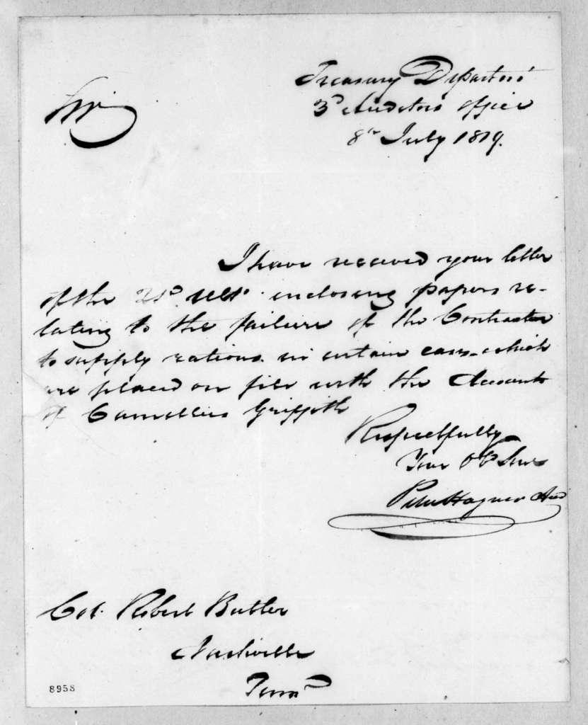 Peter Hagner to Robert Butler, July 8, 1819