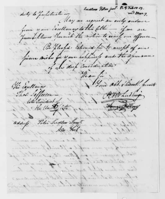 Peter Ludlow, Jr. and James B. Shief to Thomas Jefferson, February 10, 1819