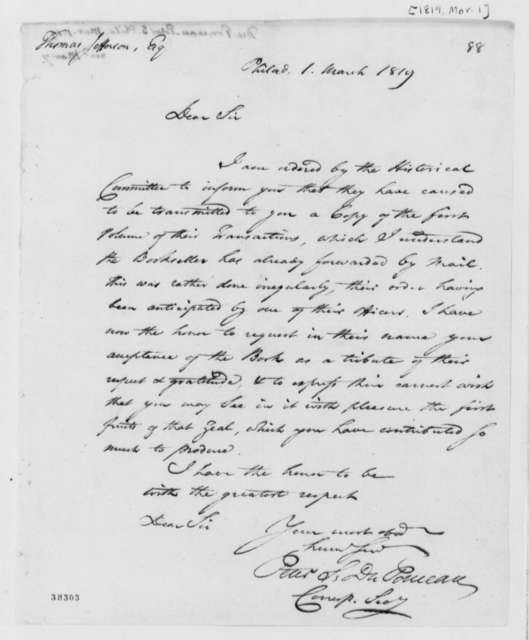 Peter S. du Ponceau to Thomas Jefferson, March 1, 1819