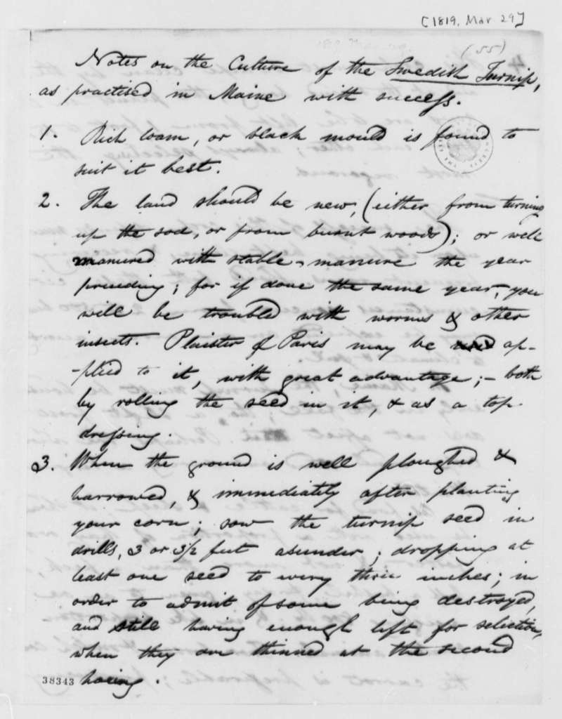 Petty Vaughan, March 29, 1819, Notes on Swedish Turnips
