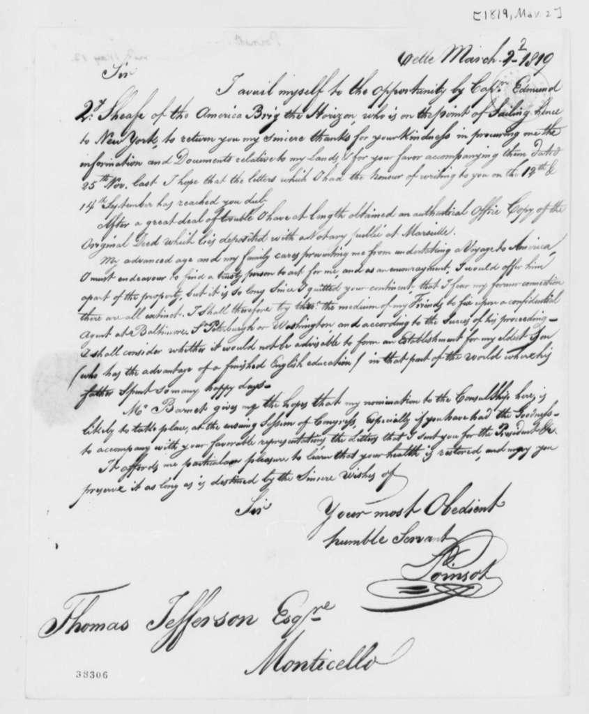 Pierre P. des Essarts to Thomas Jefferson, March 2, 1819