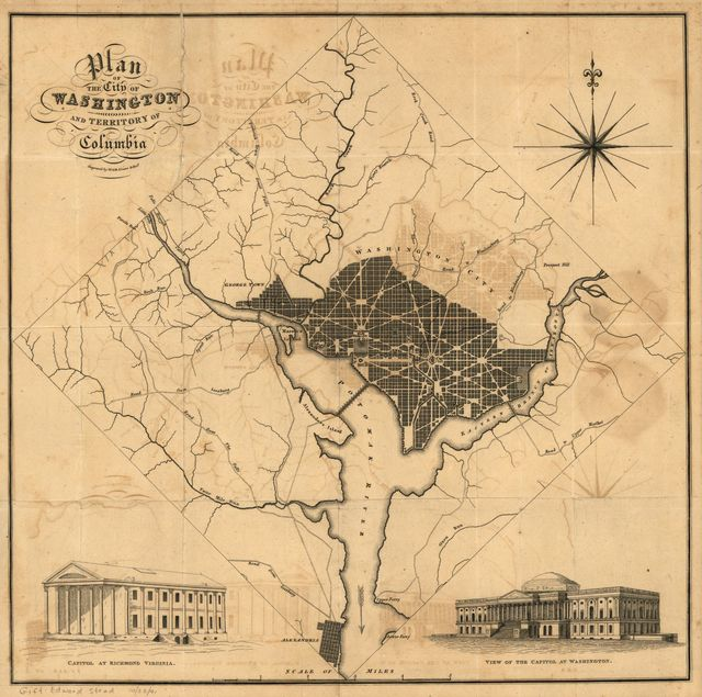 Plan of the city of Washington and territory of Columbia / engraved by W. & D. Lizars, Edin'r.