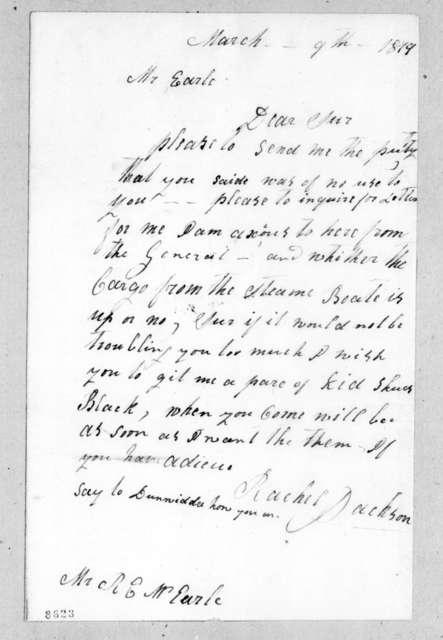 Rachel Donelson Jackson to Ralph Eleazar Whitesides Earl, March 9, 1819