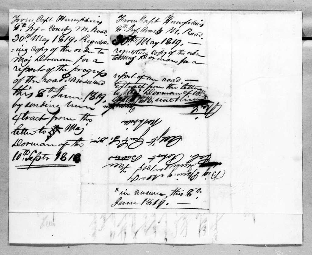 Reuben Humphreys to Robert Butler, May 30, 1819