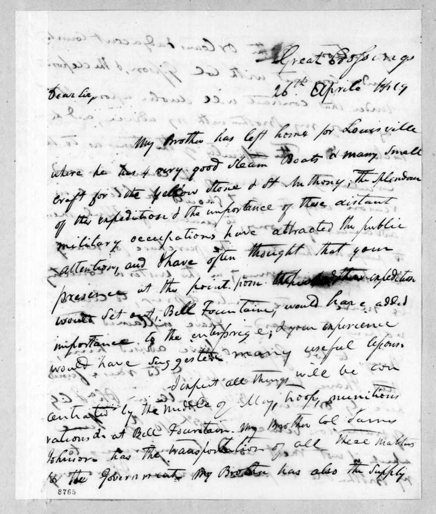 Richard Mentor Johnson to Andrew Jackson, April 26, 1819