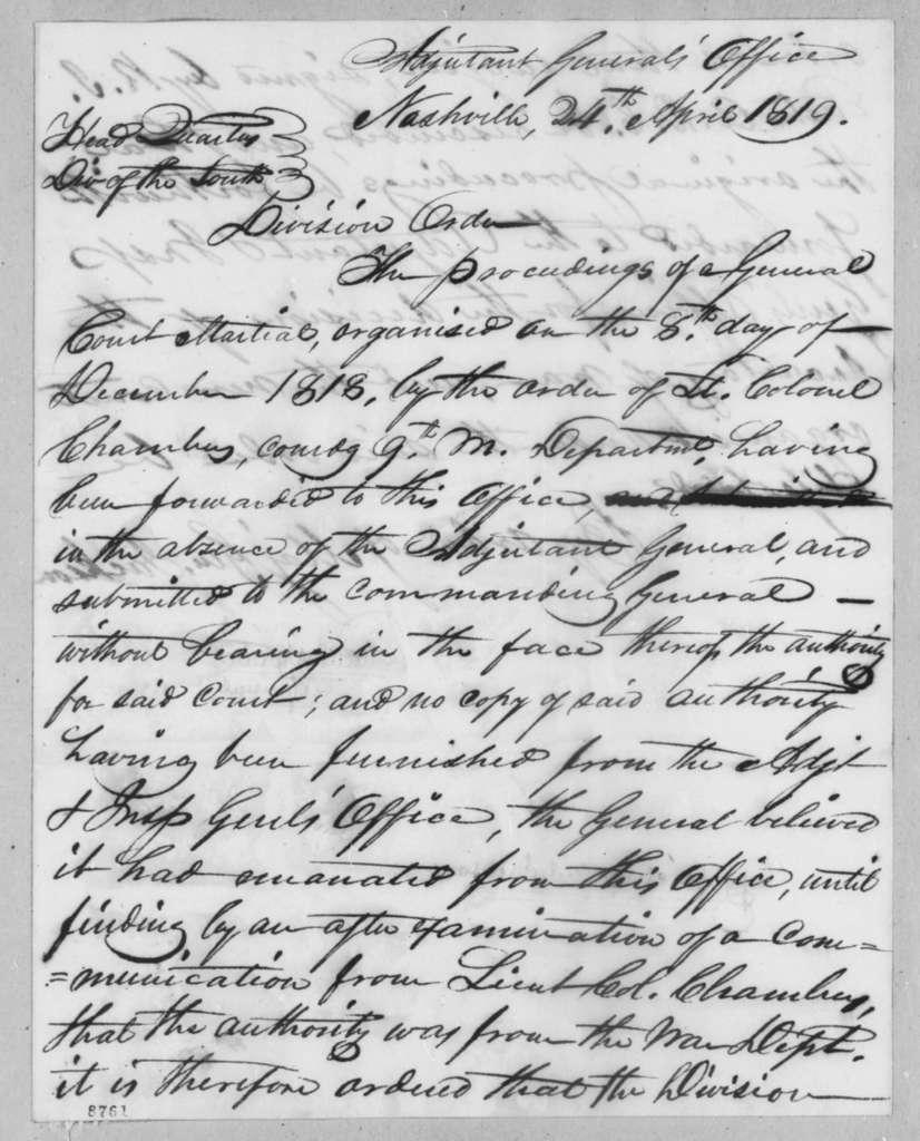 Robert Butler to Andrew Jackson, April 24, 1819