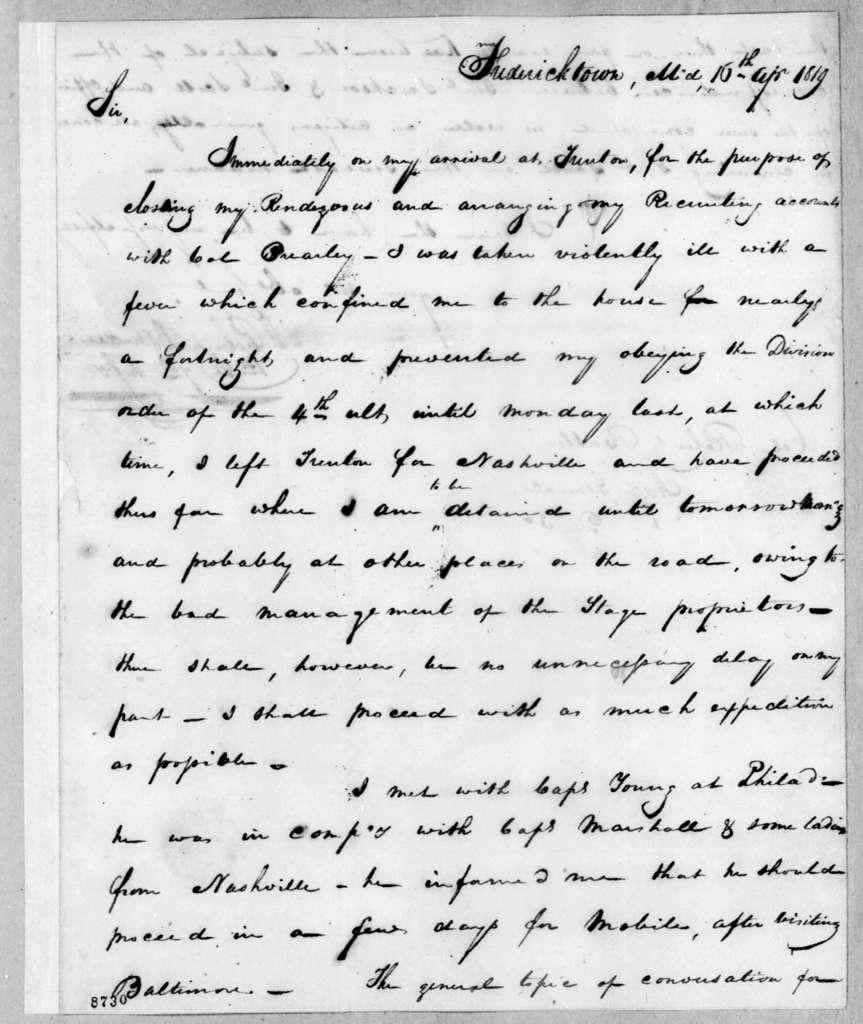 Robert Isman to Robert Butler, April 16, 1819