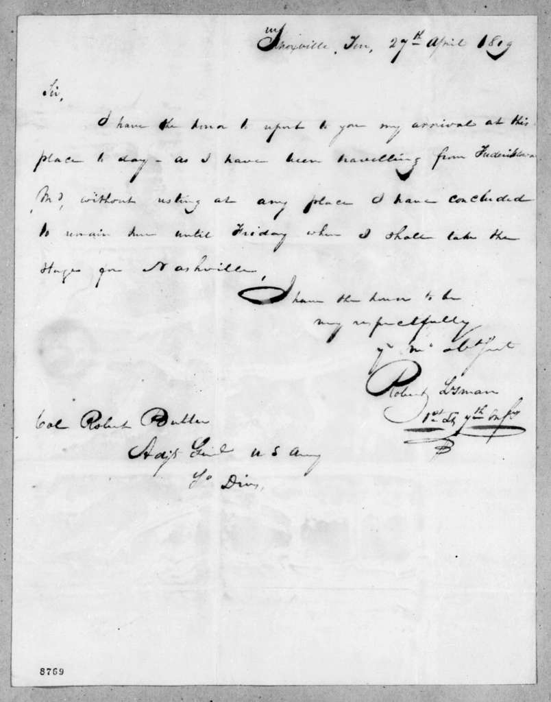 Robert Isman to Robert Butler, April 27, 1819