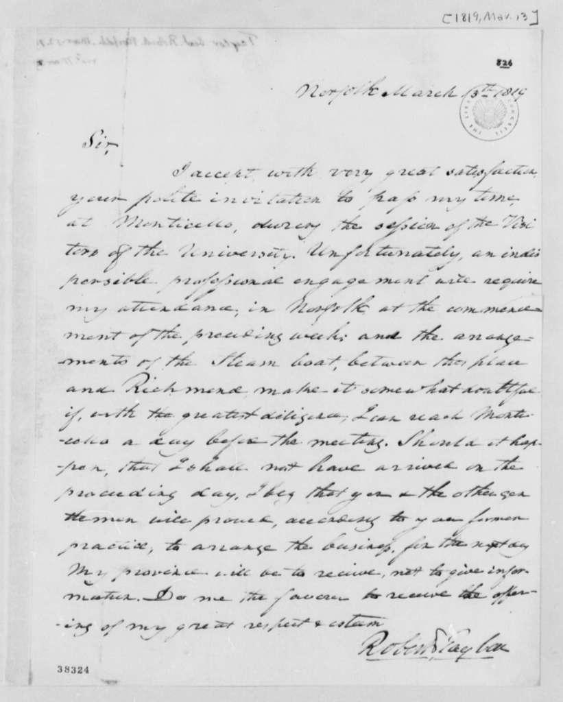 Robert Taylor to Thomas Jefferson, March 13, 1819