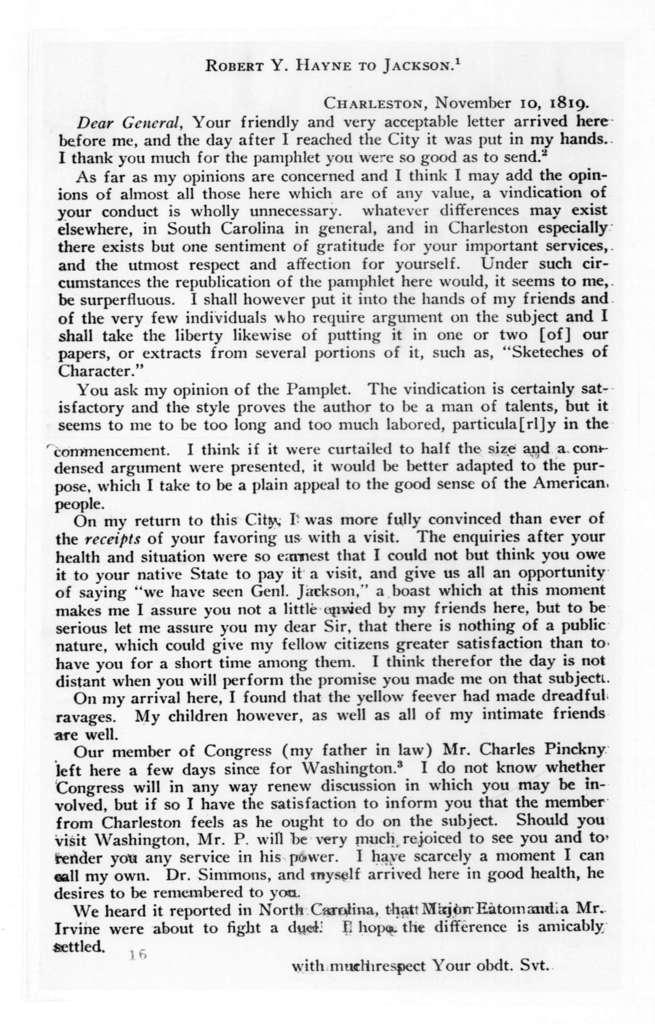 Robert Y. Hayne to Andrew Jackson, November 10, 1819