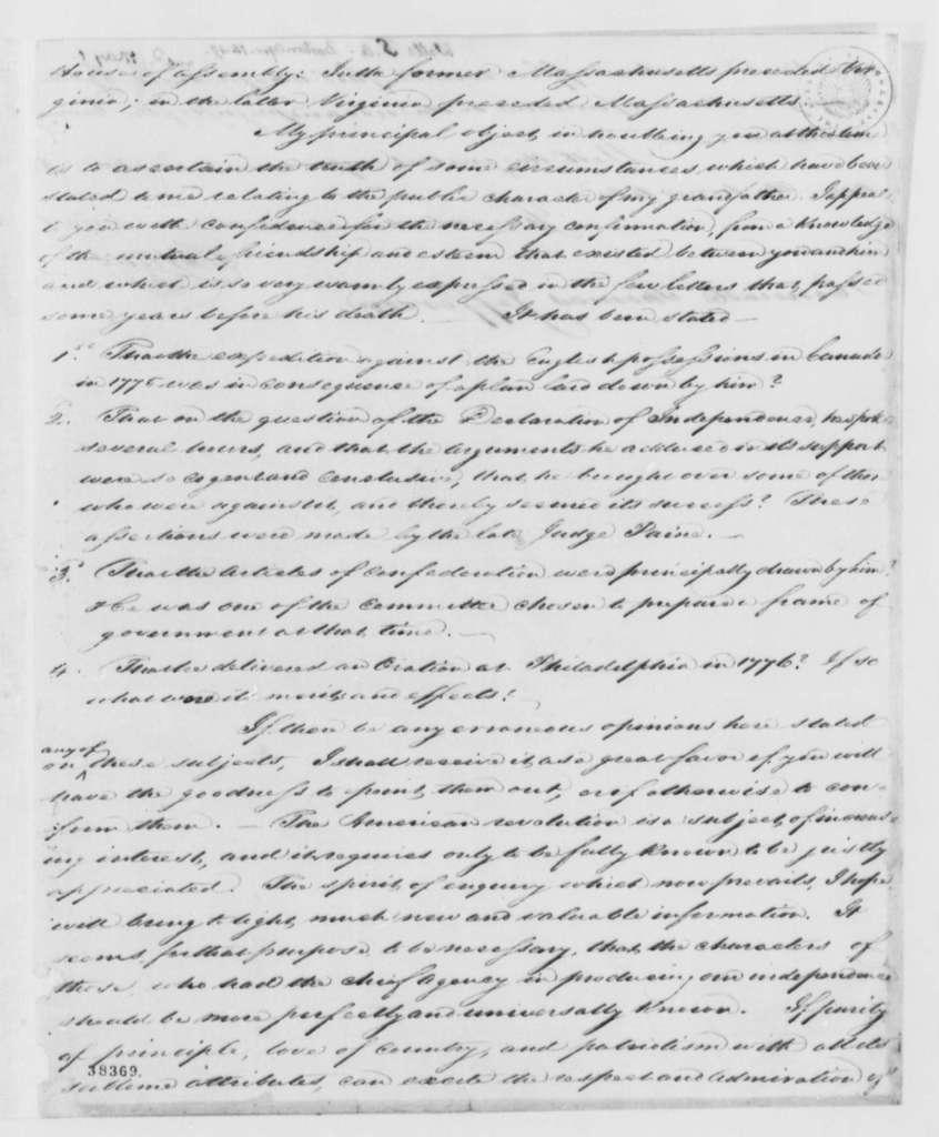 Samuel A. Wells to Thomas Jefferson, April 14, 1819